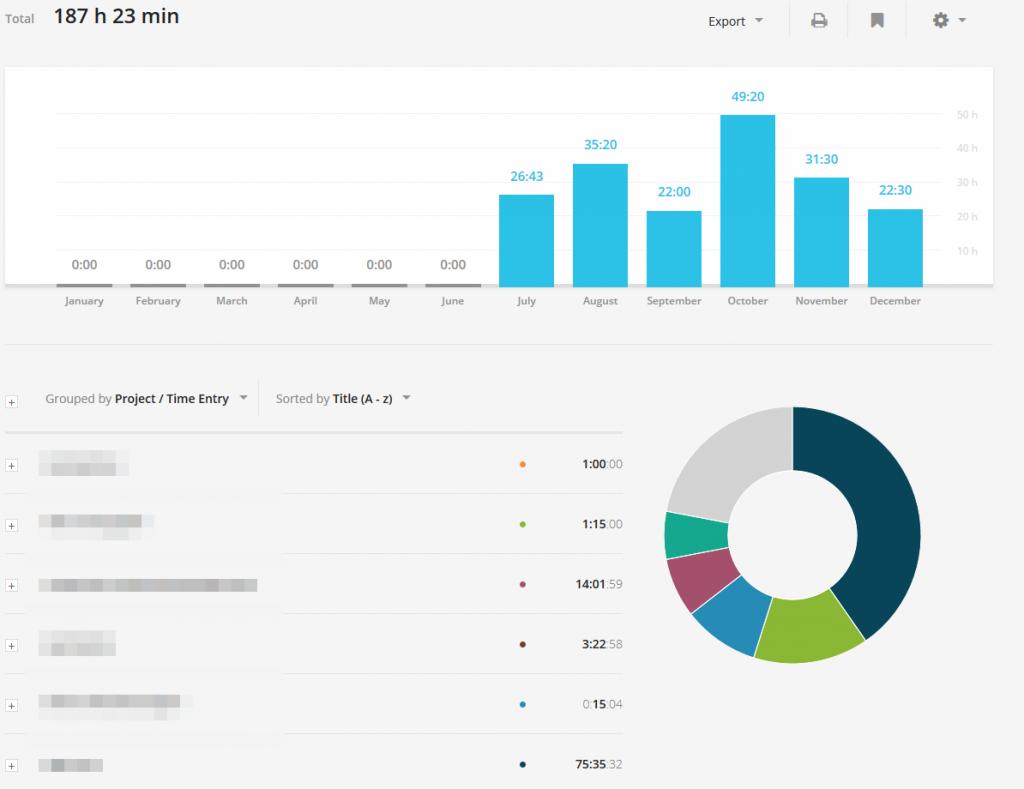 Zeiterfassung Verwaltungsoberfläche mit visuellen Graphen