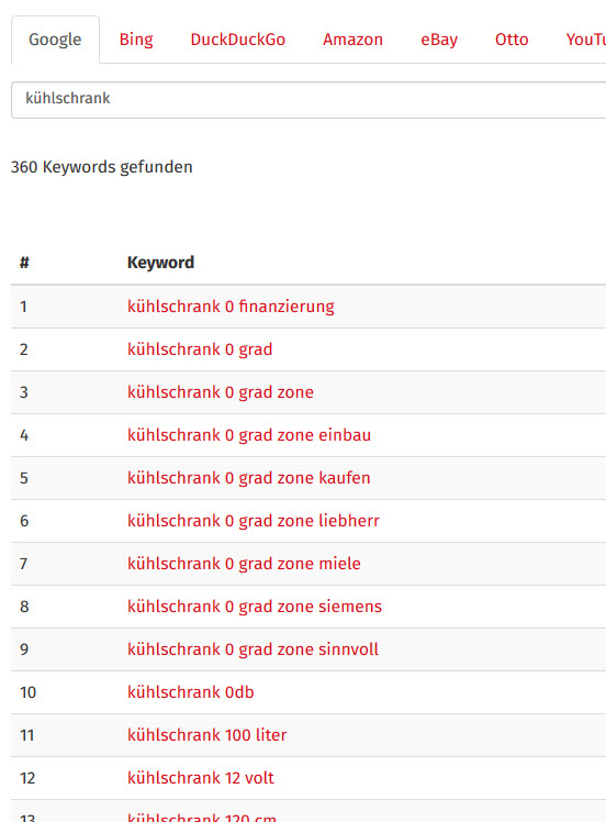 Keyword-Recherche Tool für Longtail-Keywords