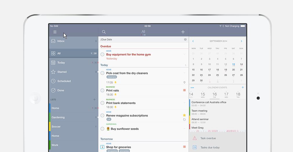 Taskmanager und Aufgabenplaner für das iPad