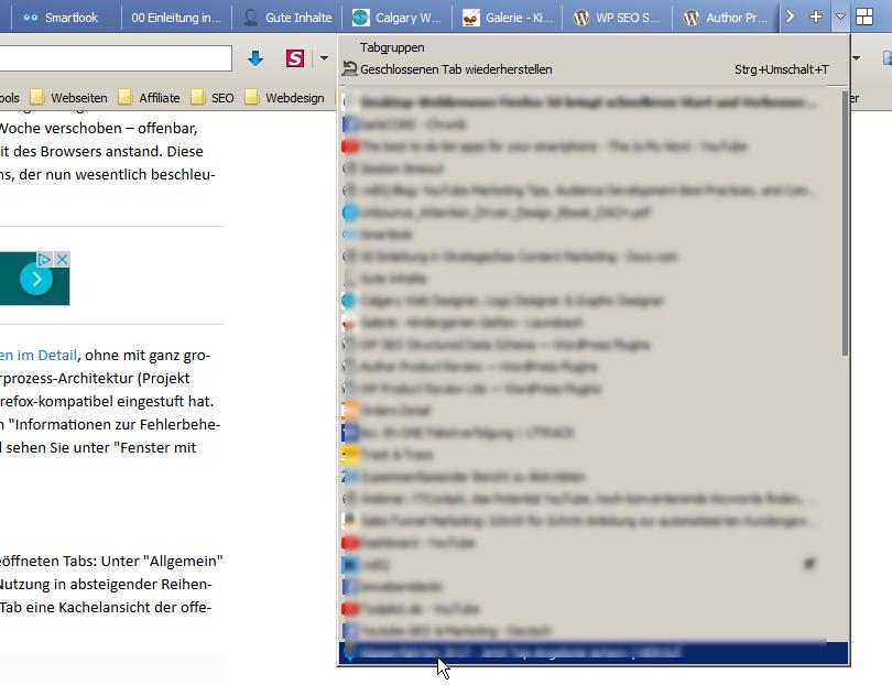 weitere Tabs anzeigen Firefox