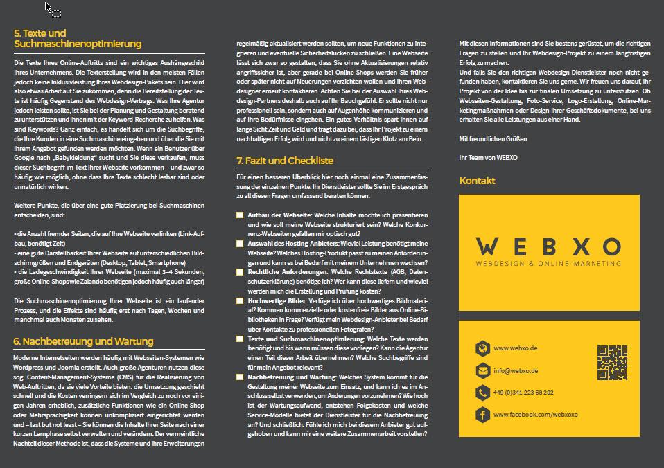 Informationsbroschüre - Worauf bei einer neuen Webseite achten - Download kostenlos Indesign