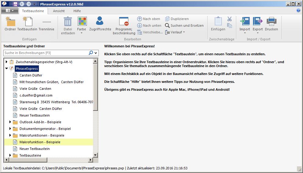 Textbausteine verwalten für Mac, PC, Iphone und Android