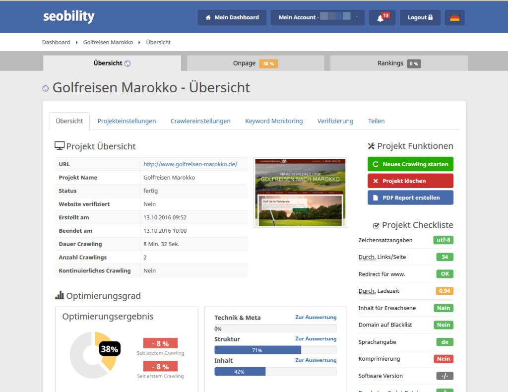 Seobility Dashboard