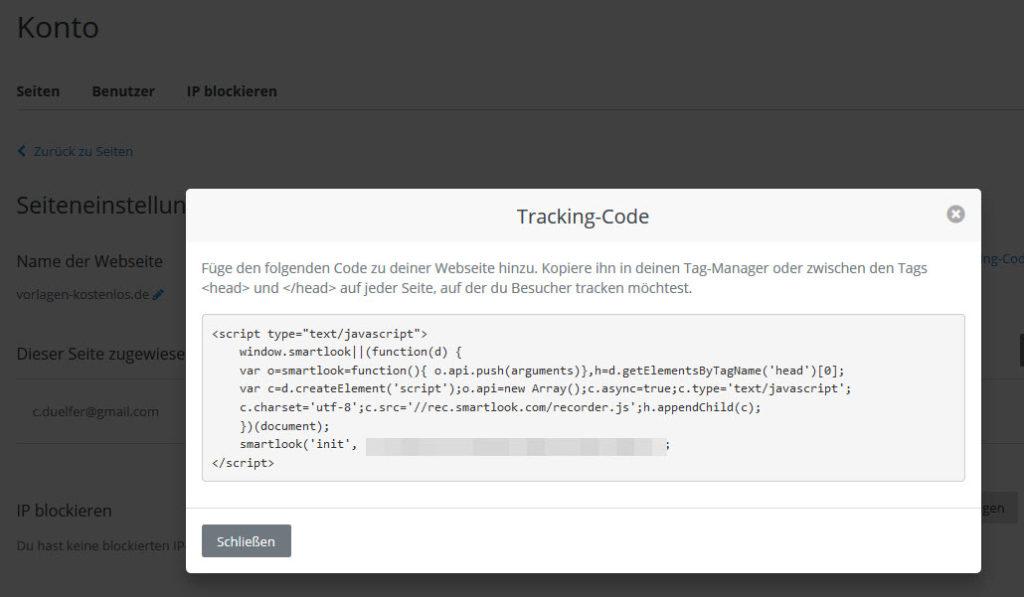 Videotracking Code - zum Einbauen in die eigenen Website
