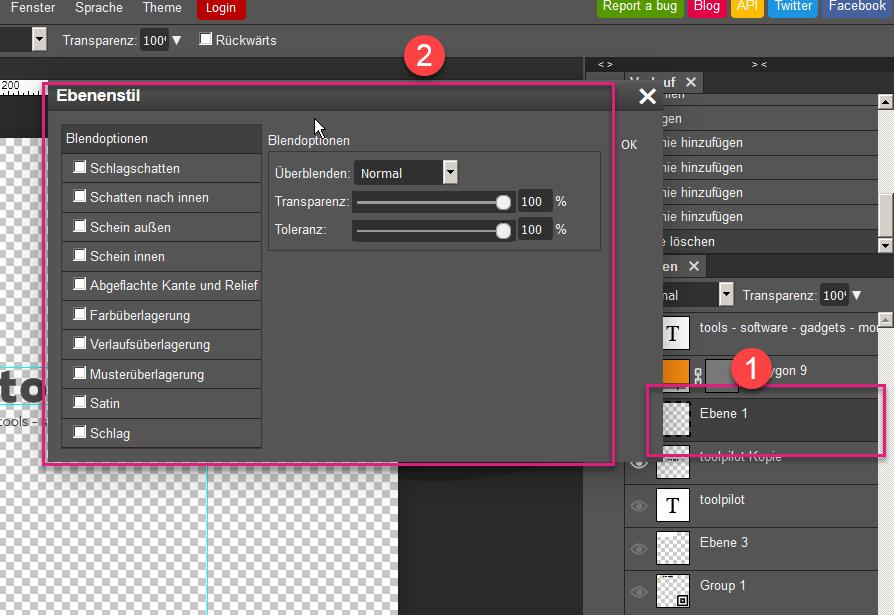 Ebeneneigenschaften in Photopea, das kostenlose Online Photoshop