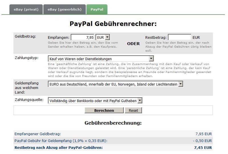 Paypal Gebührenrechner