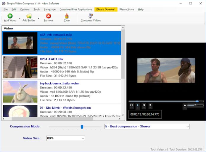 Komprimierung großer Videodateien mit Freeware