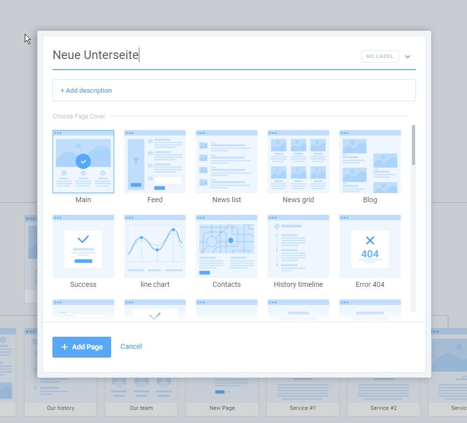 Webseiten visuell planen - Erstellung neuer Unterseiten