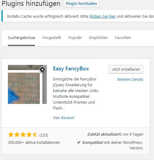 Easy FancyBox in Wordpress installieren