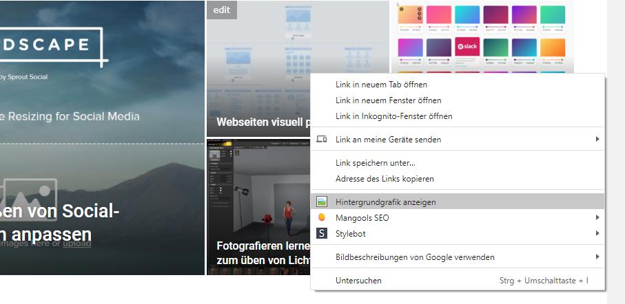Webseiten - Hintergrundfotos und Grafiken anzeigen lassen
