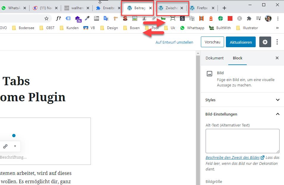Mit dem Google Chrome zwischen zwei Tabs hin und her wechseln
